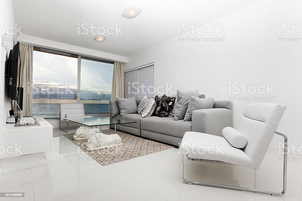 White modern lounge with a scenic view royalty-free stock photo