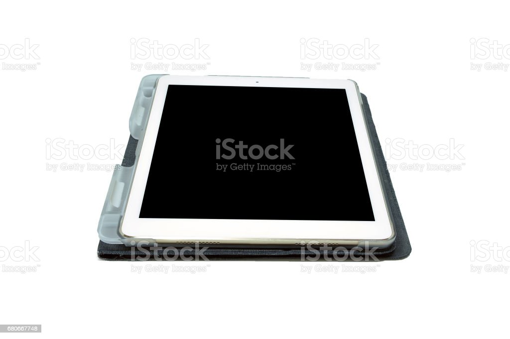 White Modern Tablet isolated on white background, clipping path inside stock photo