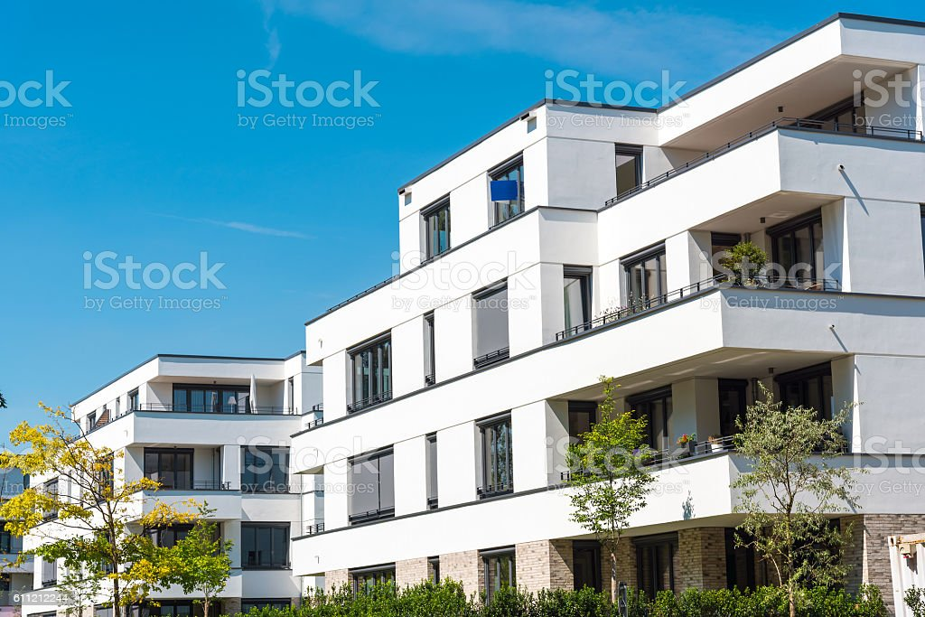White modern townhouses in Germany stock photo