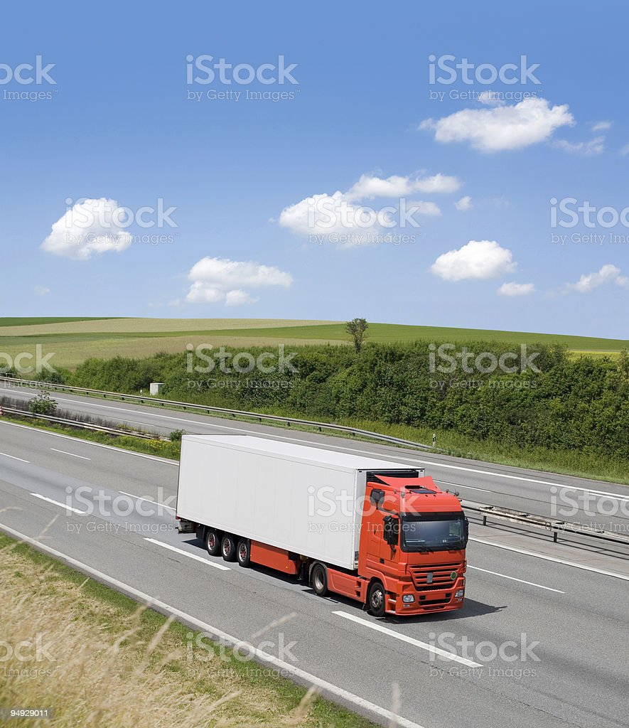 White modern truck on german highway royalty-free stock photo