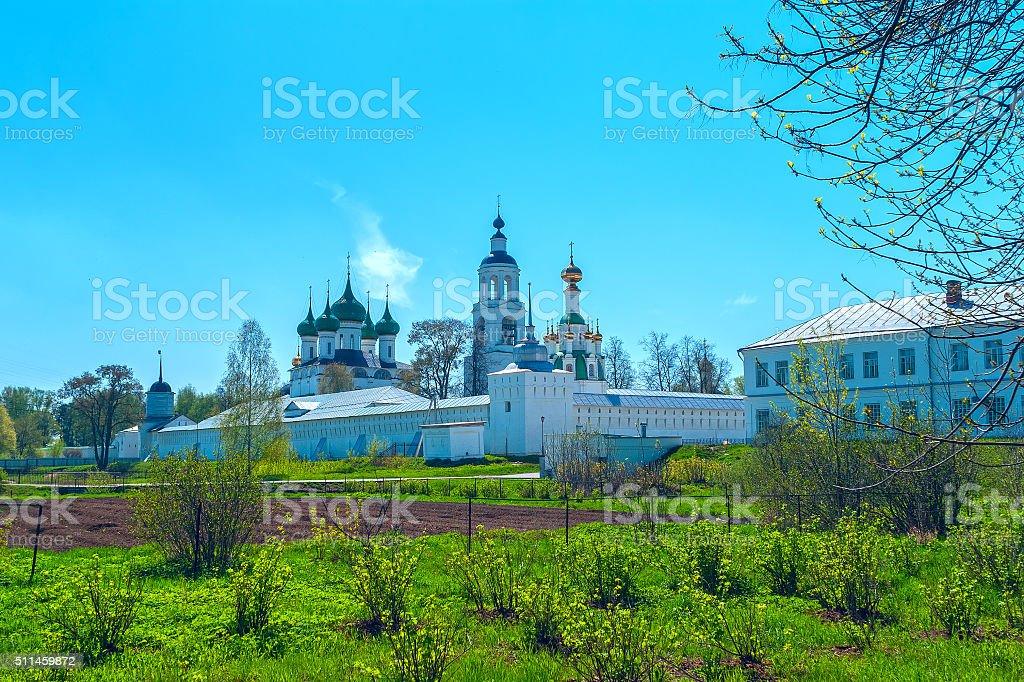 White Monastery near Yaroslavl in the spring day stock photo