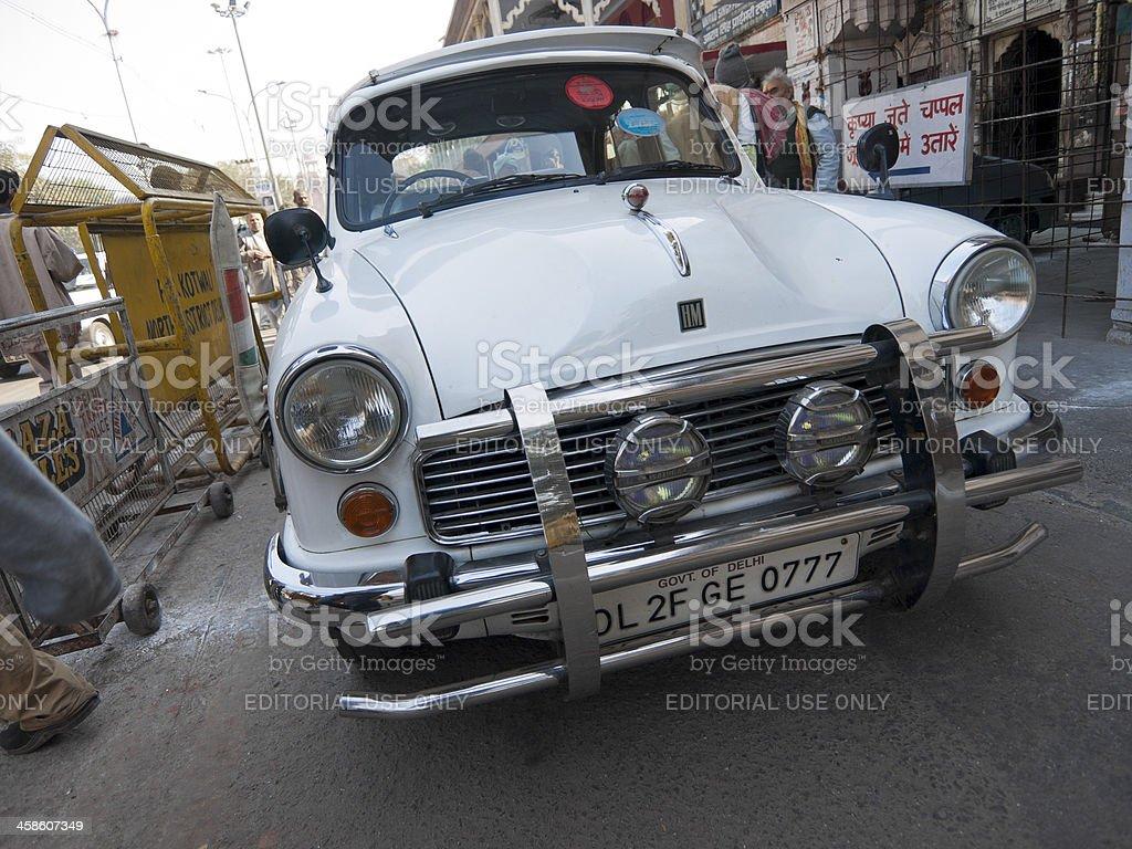 White Morris Minor, New Delhi, India royalty-free stock photo