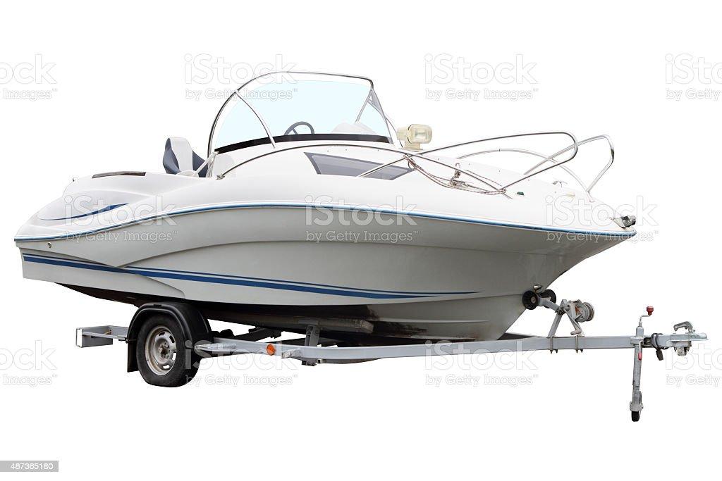 White motor boat stock photo
