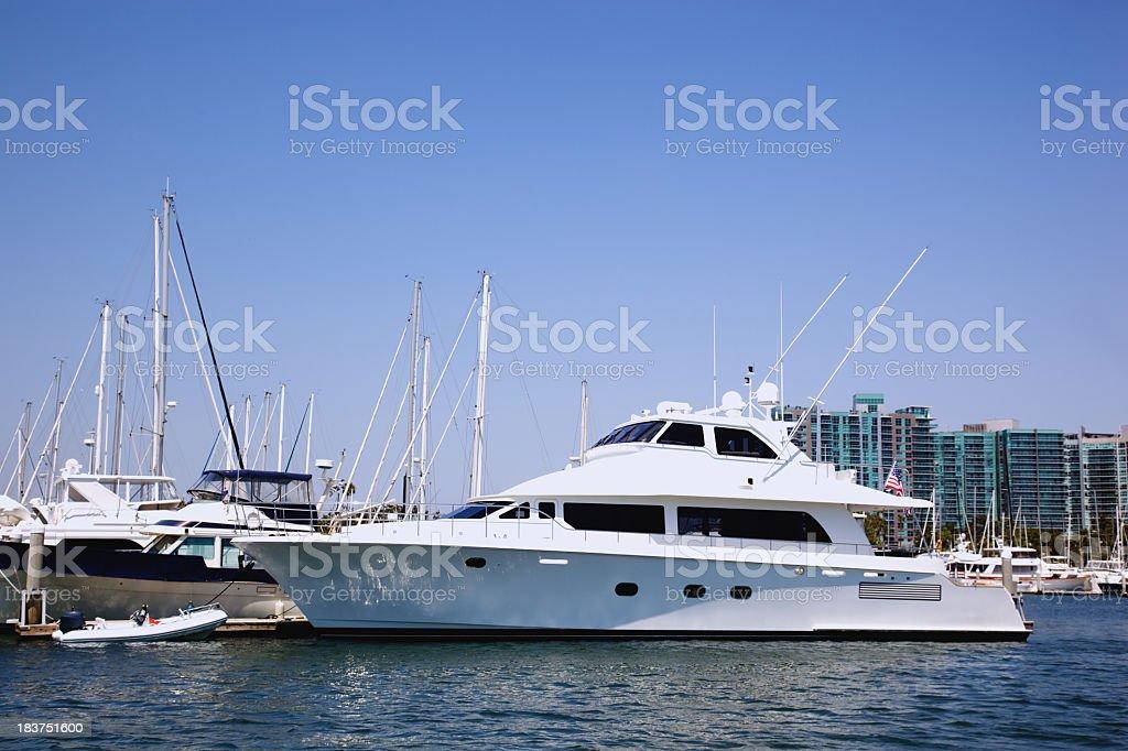 White Motorboat Vacation royalty-free stock photo