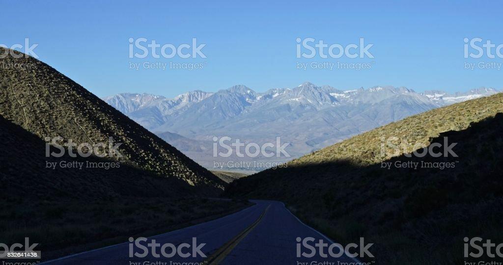 White Mountains Highway Shadow stock photo
