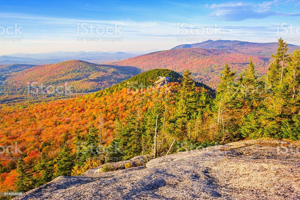 White Mountains in Autumn New Hampshire USA stock photo