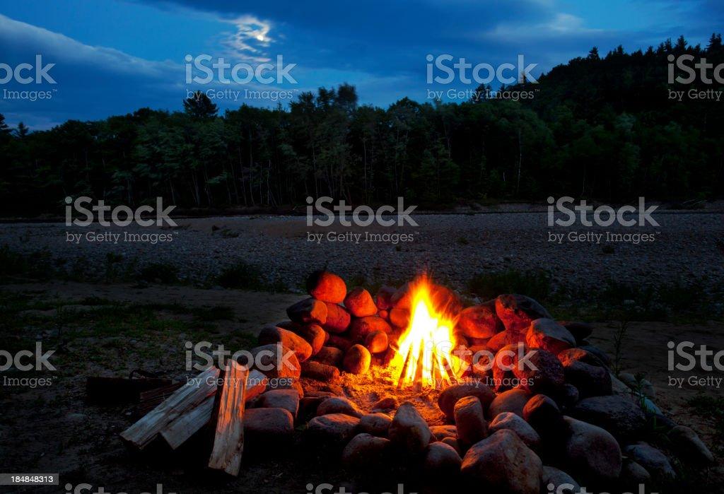 White Mountains Moonlit Campfire stock photo