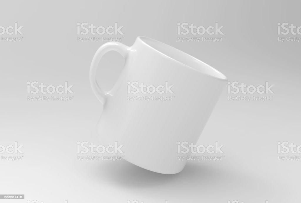 White mug mock up on soft white background. 3D illustrated stock photo