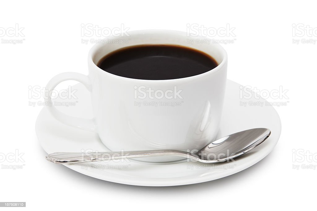 A white mug of coffee with a spoon royalty-free stock photo