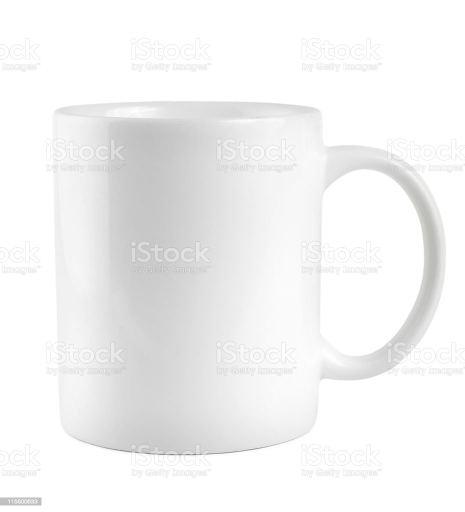 White mug on a white background royalty-free stock photo