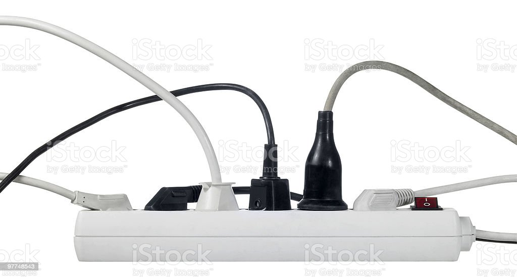 white multiple socket and plugs sideways stock photo