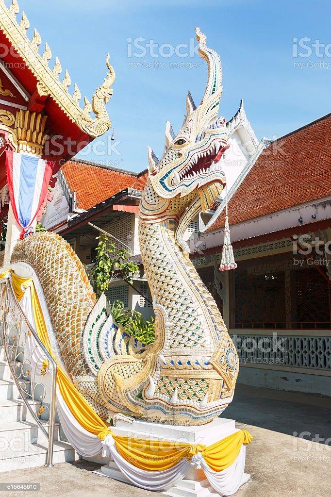 White Naga statue stock photo