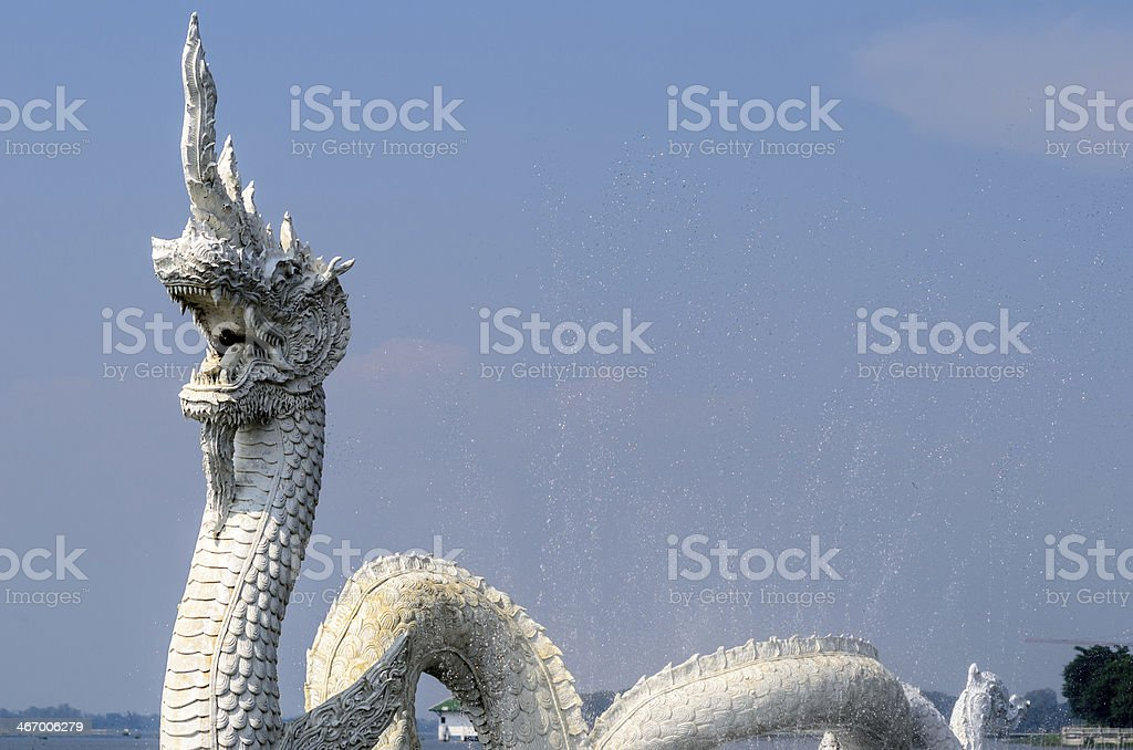 White Naga Statues stock photo