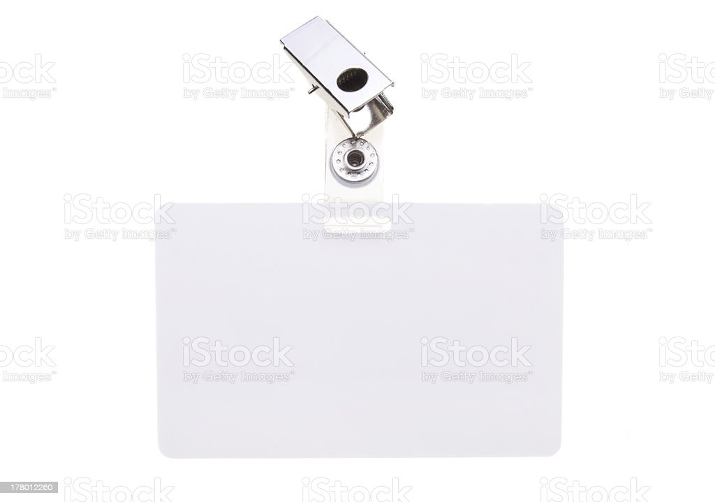 White name tag stock photo
