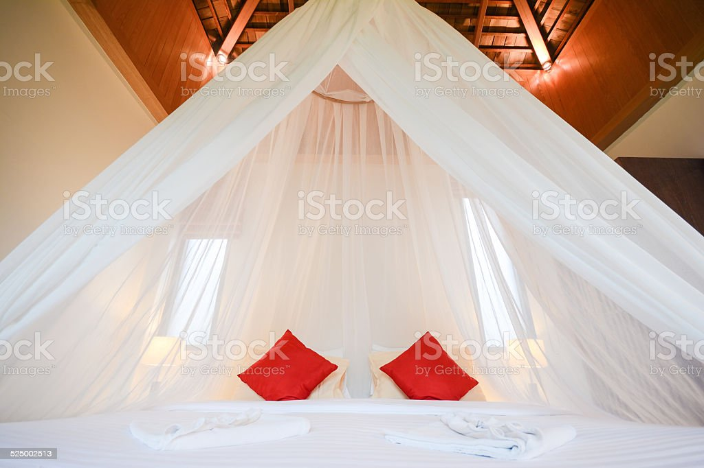 white net dome over bed, romantic room stock photo