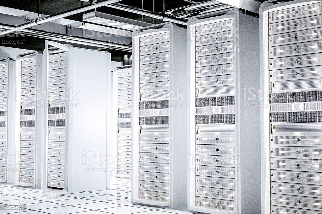 White network servers racks stock photo