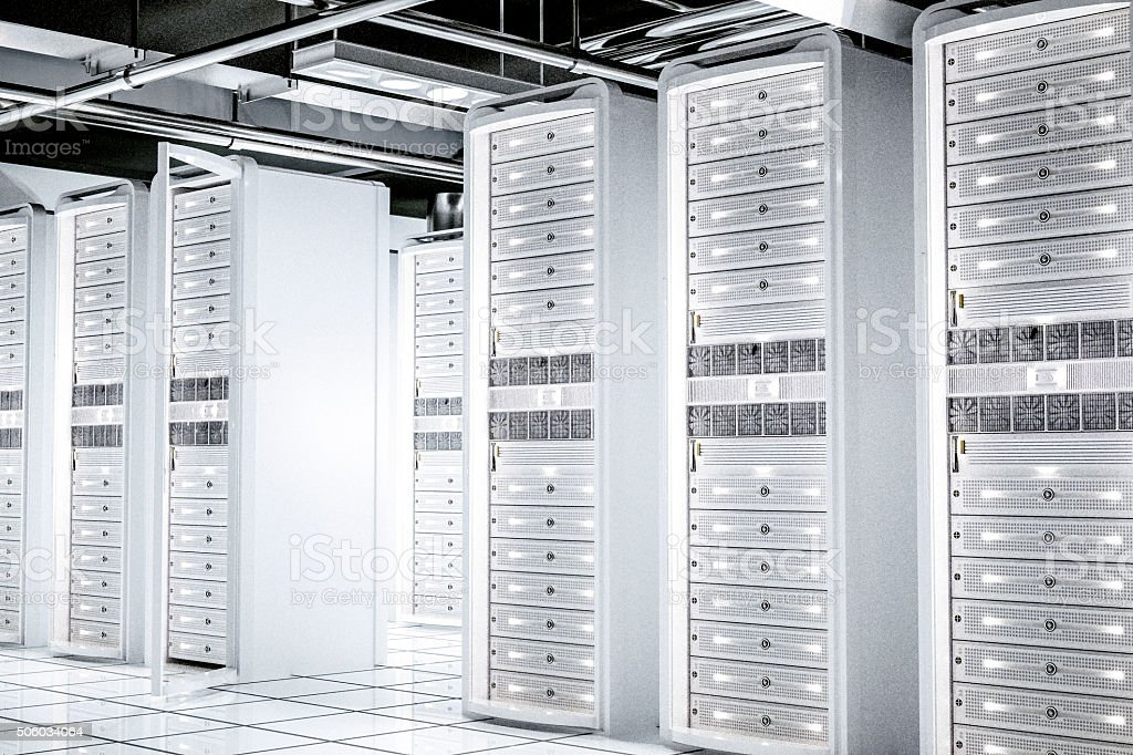 White network servers racks stock photo