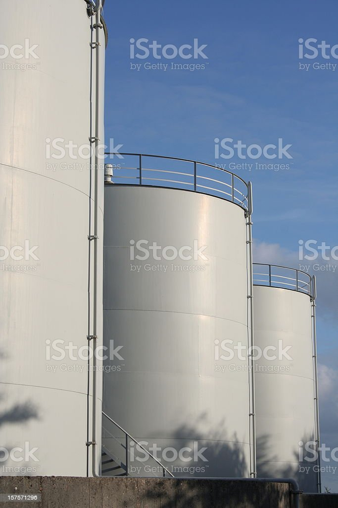 White neutral oil tanks for storage of fuel royalty-free stock photo