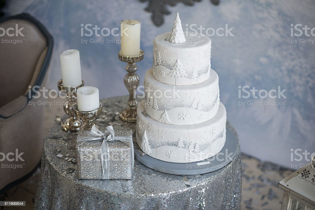 White New Year's cake and candles stock photo