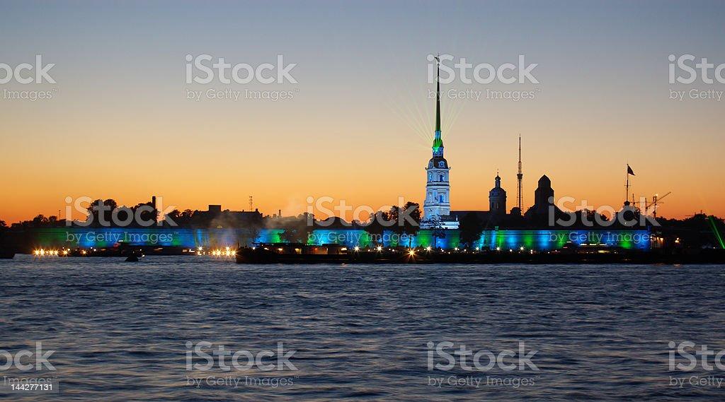 white night scene in St.Petersburg royalty-free stock photo