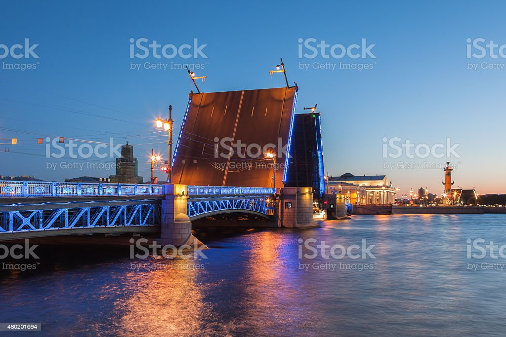 White Nights in St. Petersburg, opened the Palace bridge stock photo