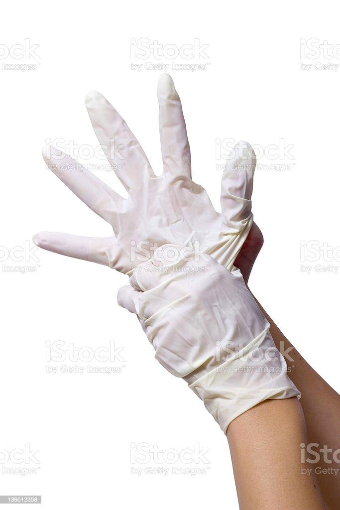 White nitril gloves on hands stock photo
