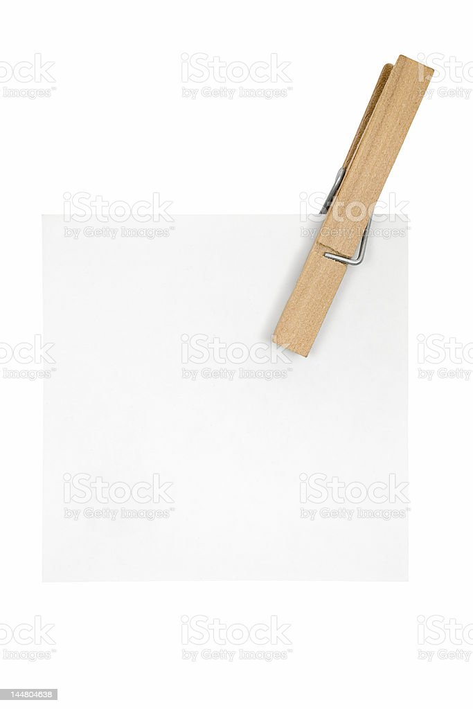 White Note and Clothespin royalty-free stock photo
