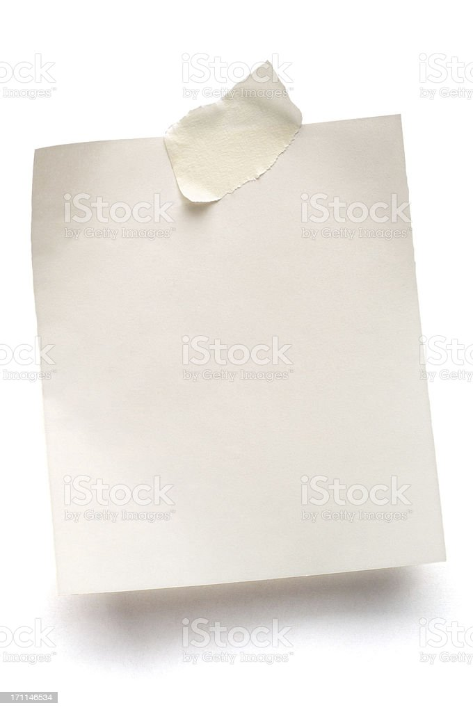 White note paper isolated stock photo