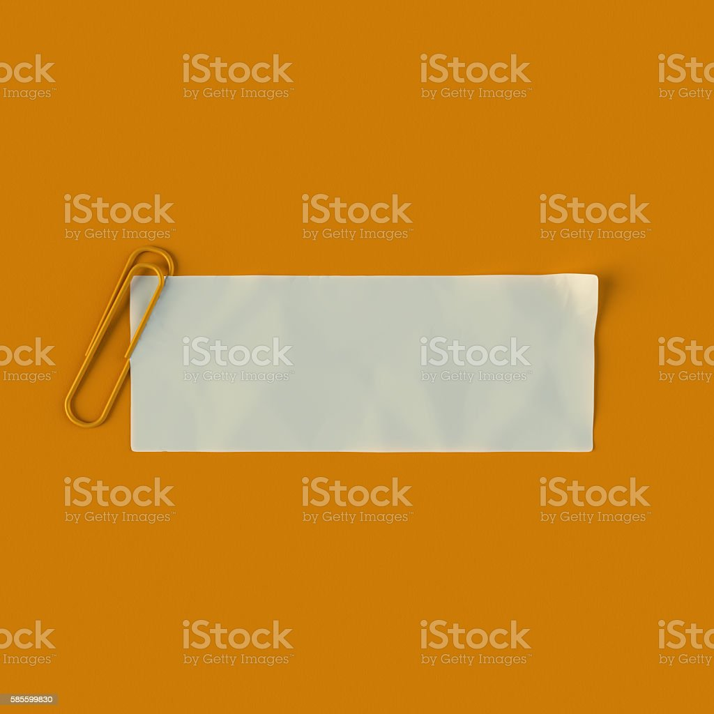 White note paper with orange paperclip 3d rendering stock photo