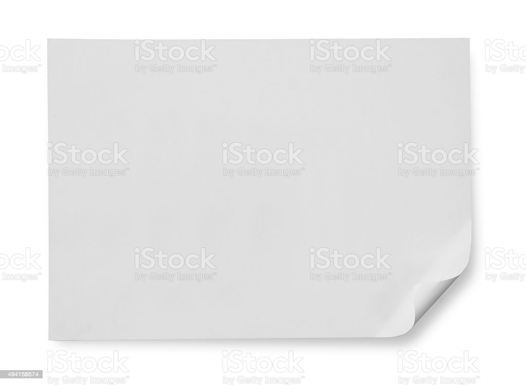white note papers on white background stock photo