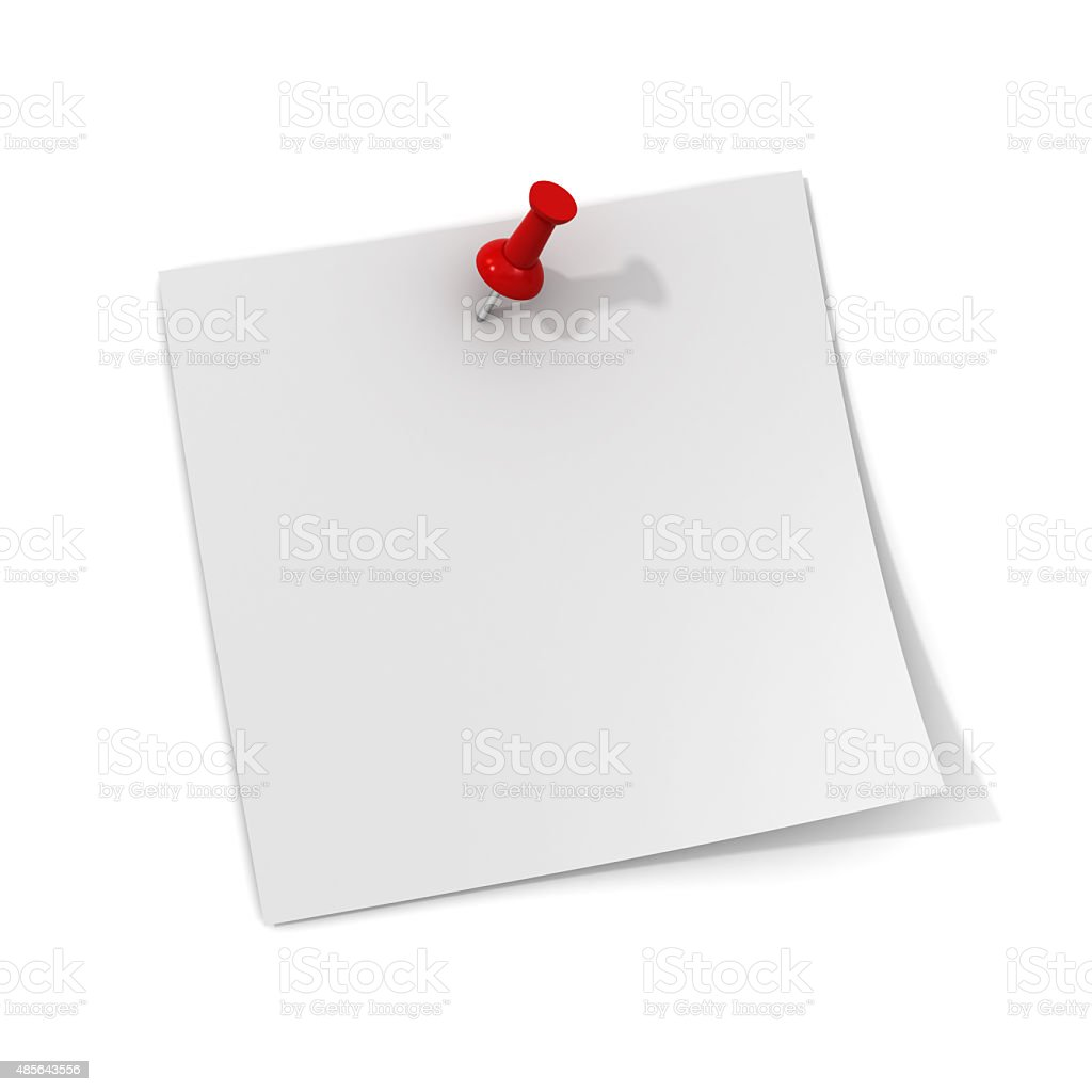 White note with red push pin stock photo