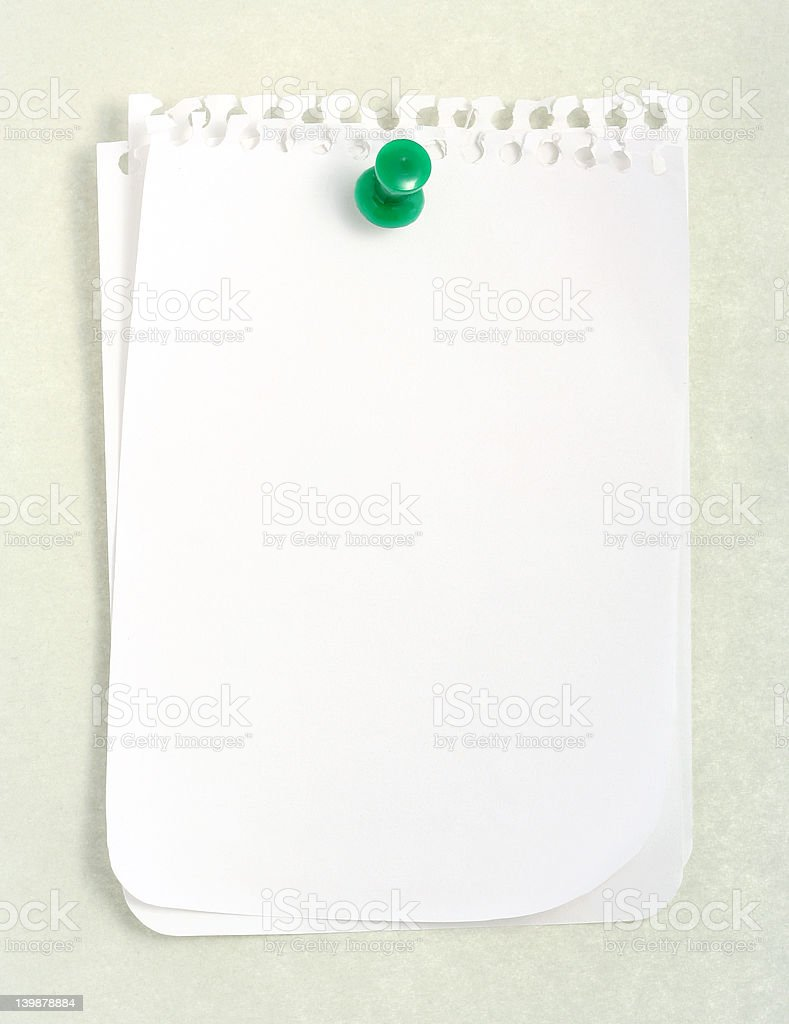 White Notebook Paper (with clipping path) royalty-free stock photo