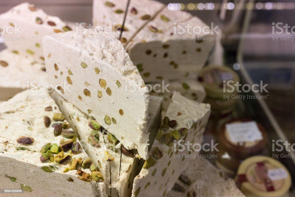 white nougat in stuttgart south germany market hall stock photo