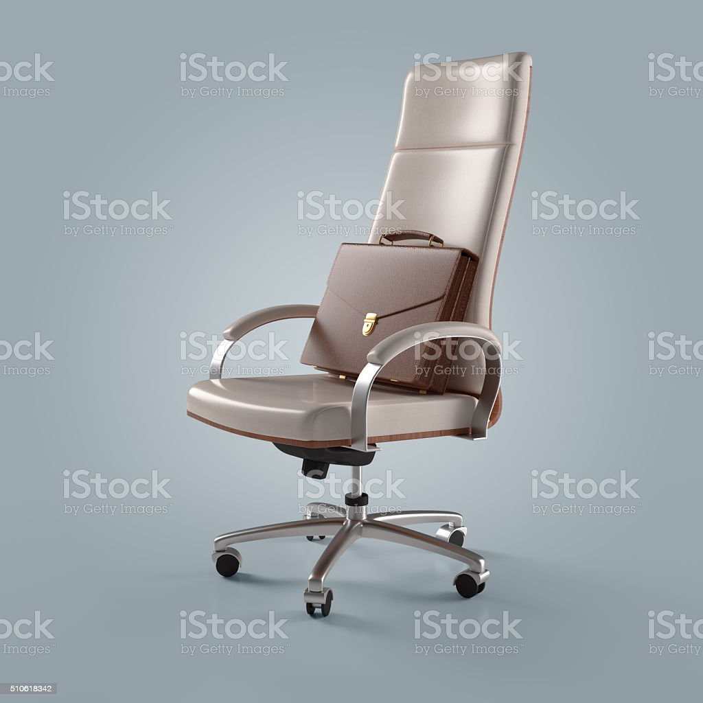white office chair and briefcase businessman stock photo