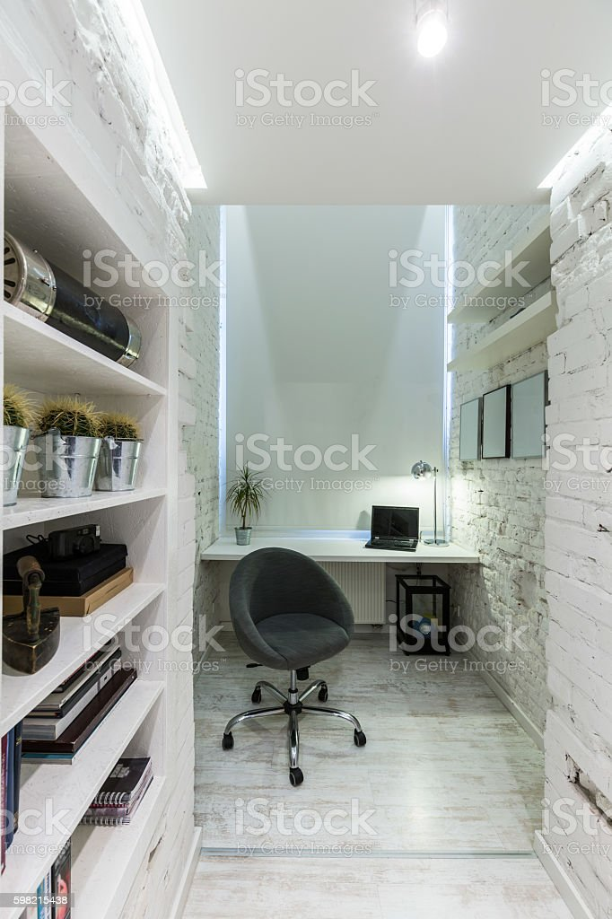 White office in industrial style idea stock photo