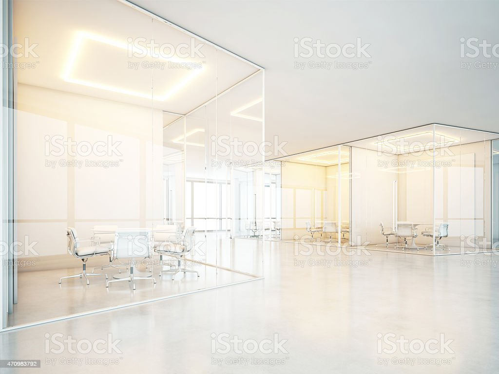 White office space. 3D rendering. stock photo
