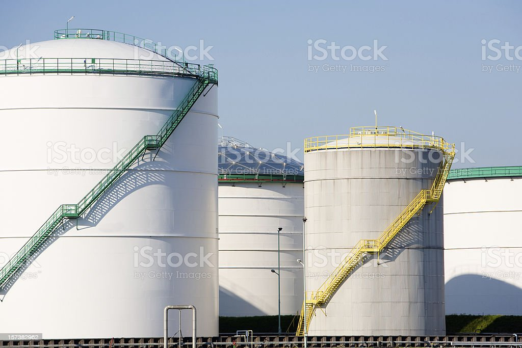 White oil and chemical storage tanks royalty-free stock photo