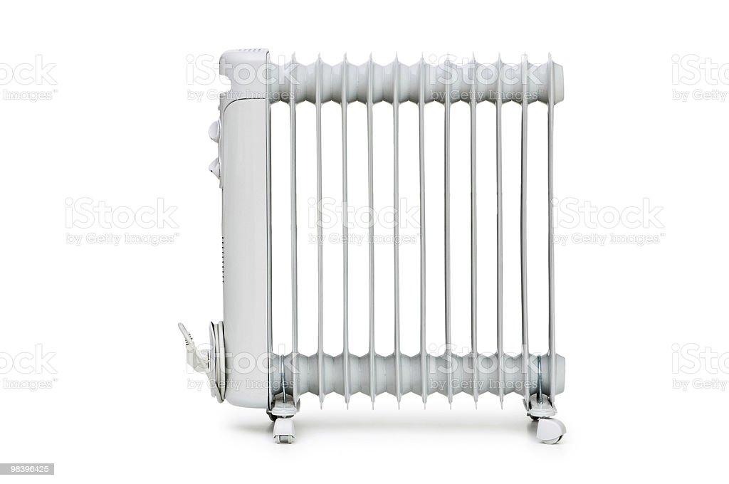 A white oil radiator on a white background royalty-free stock photo