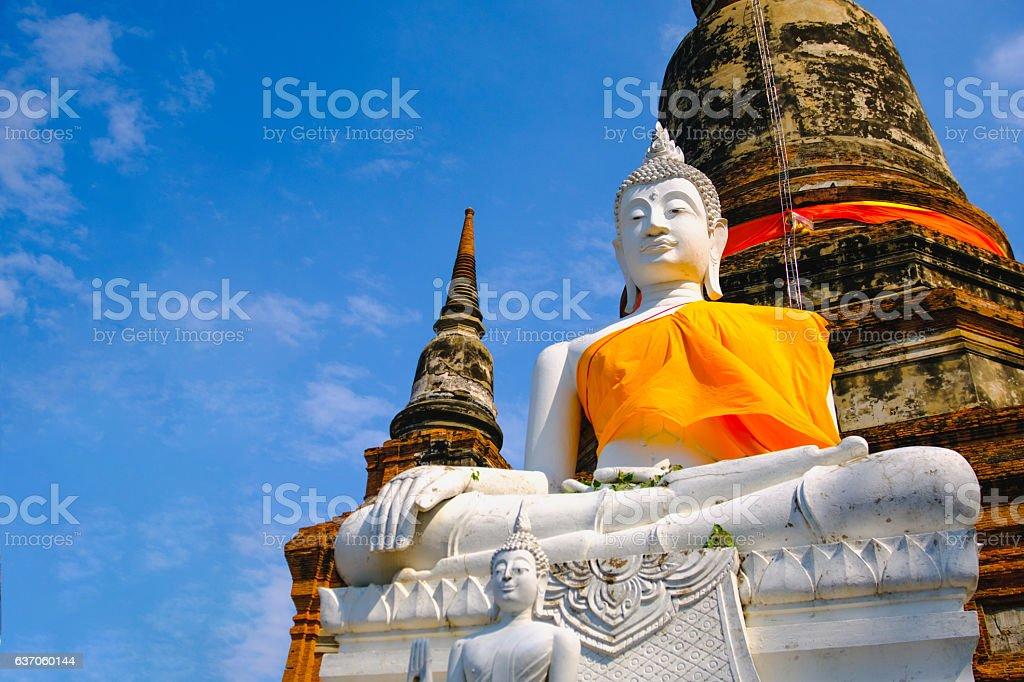 White old buddha statue stock photo