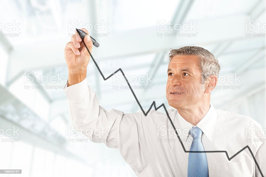 White old man Business analyst stock photo