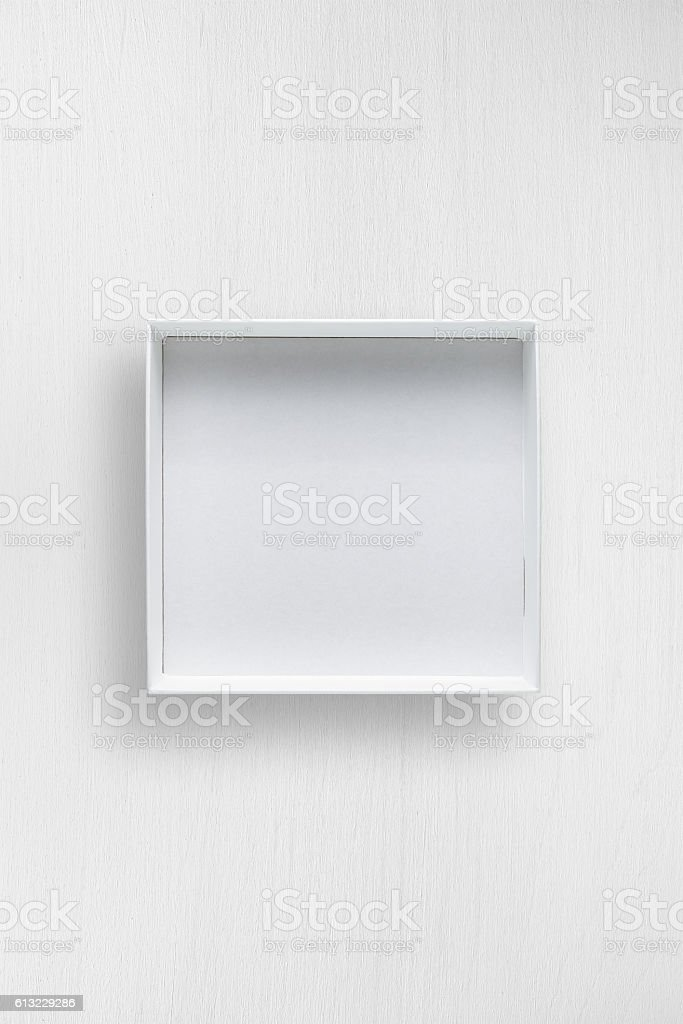 White open box on white table stock photo