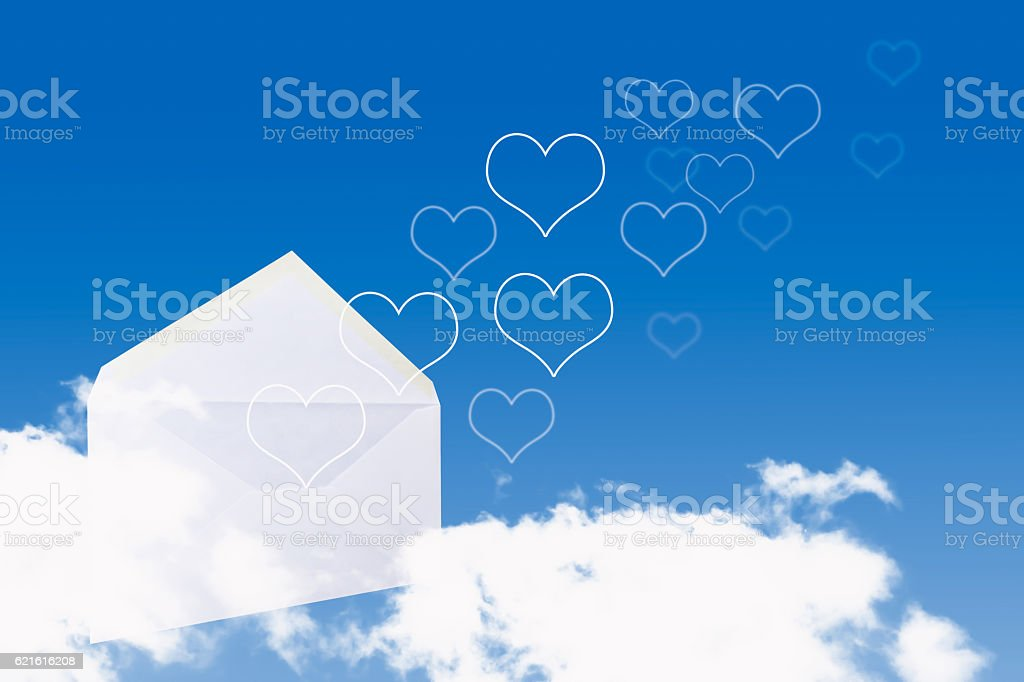 white open love letter with flying hearts stock photo