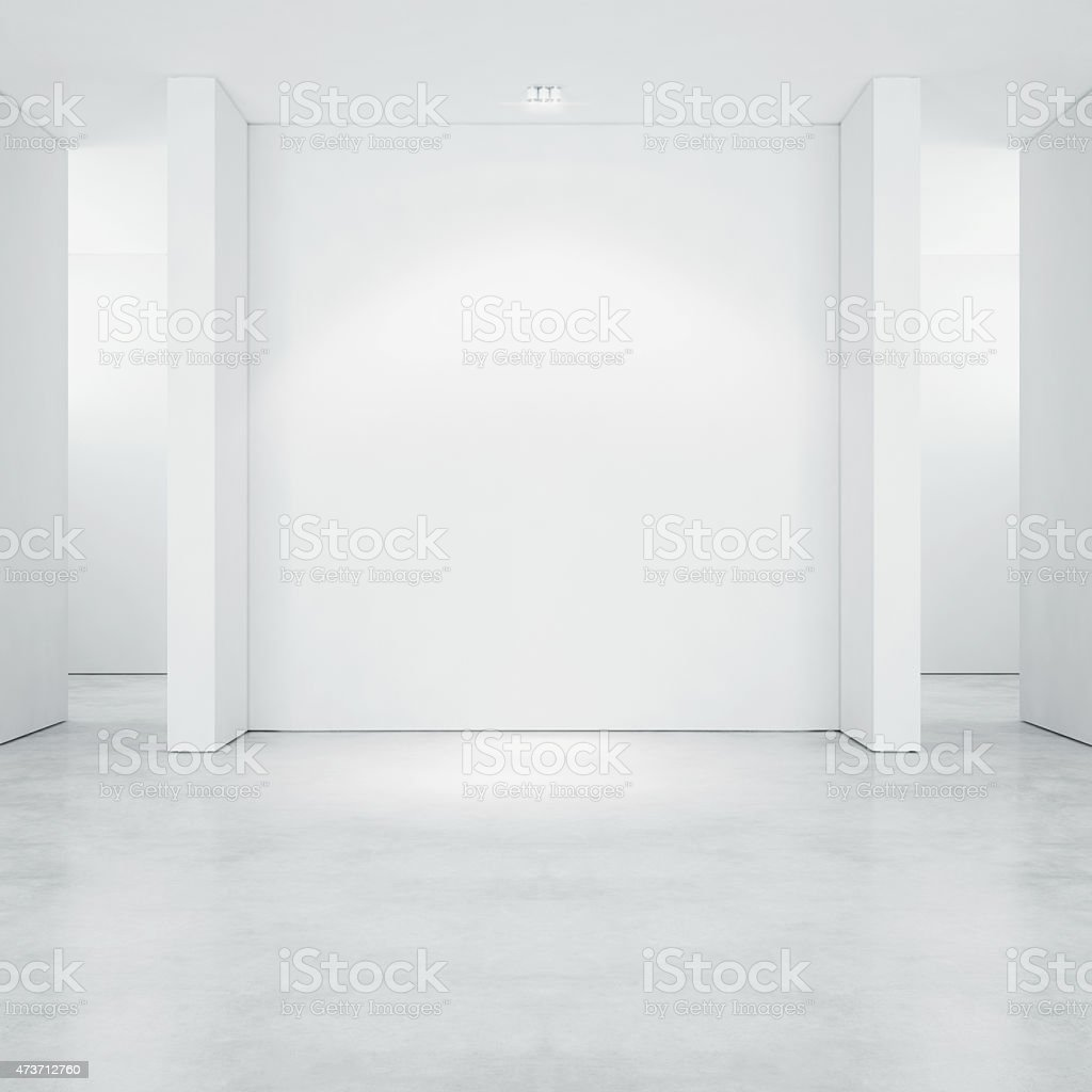 White open space gallery. 3d render stock photo