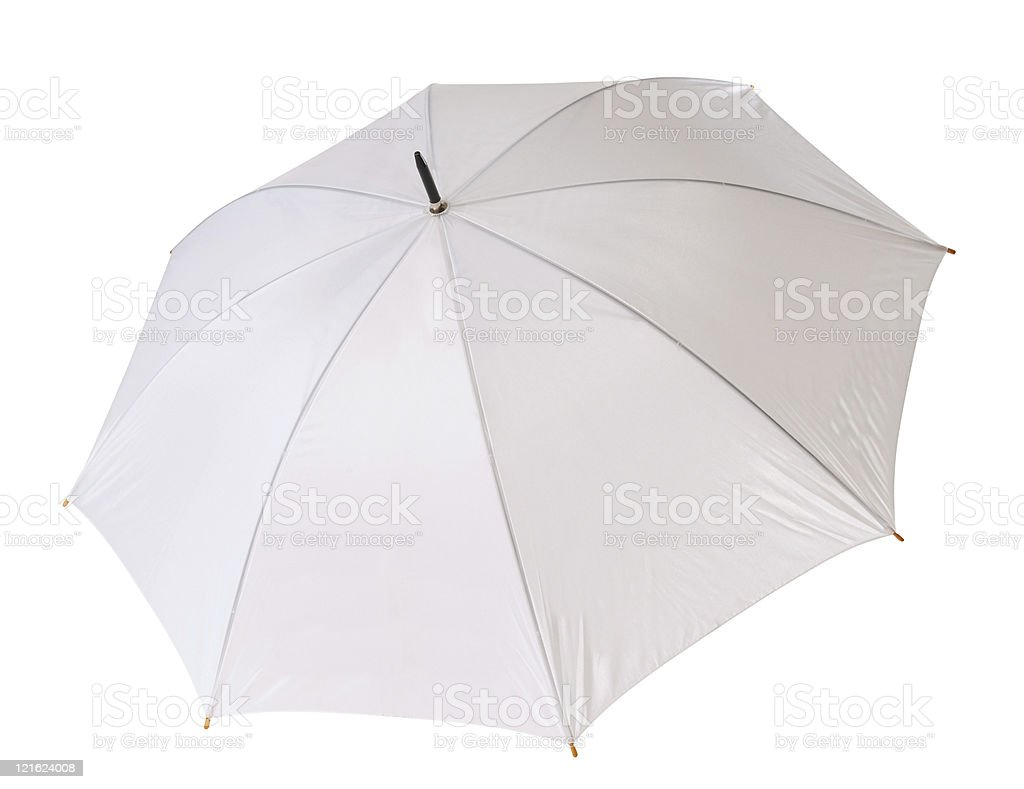 A white open umbrella with steel colored spokes stock photo