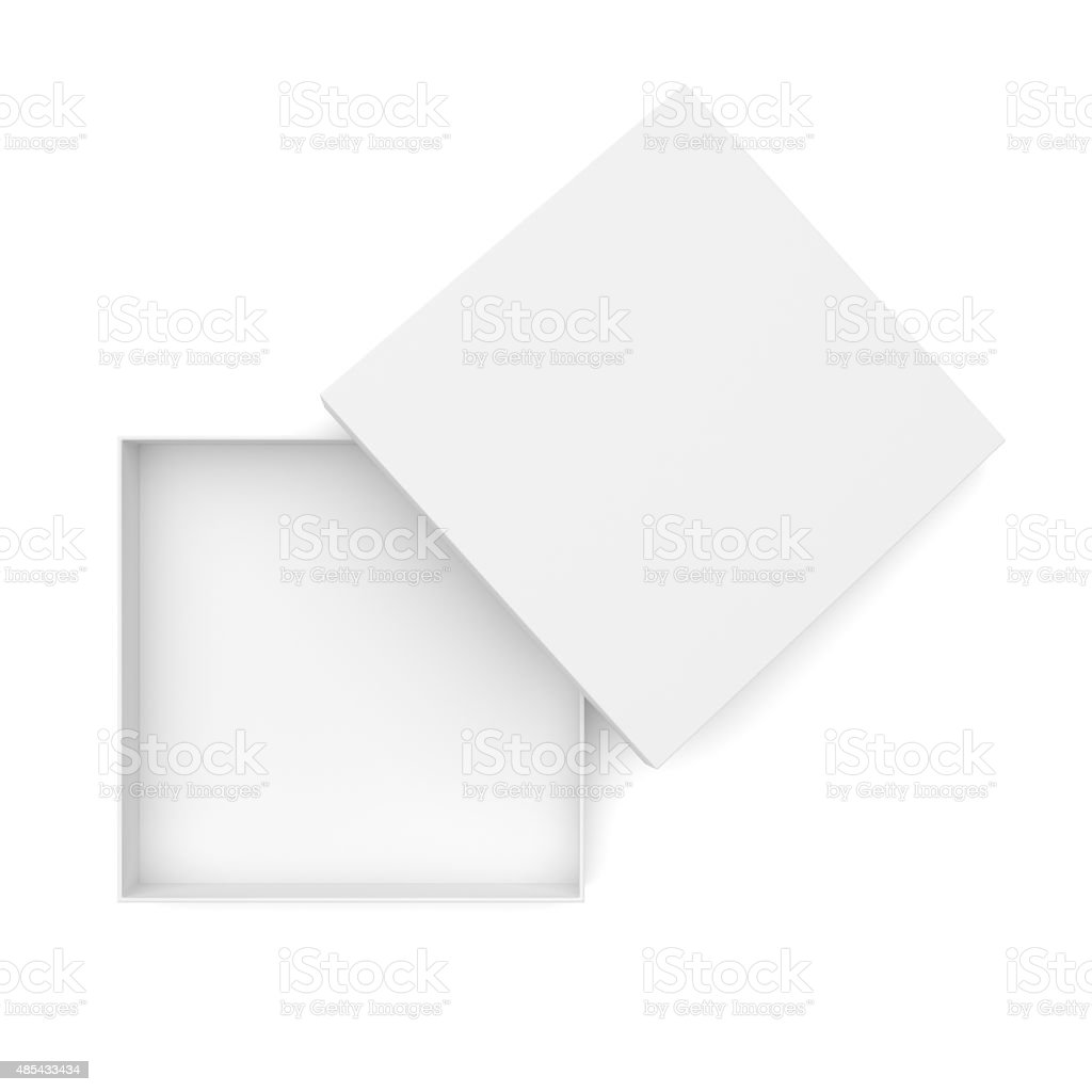 White opened flat box stock photo