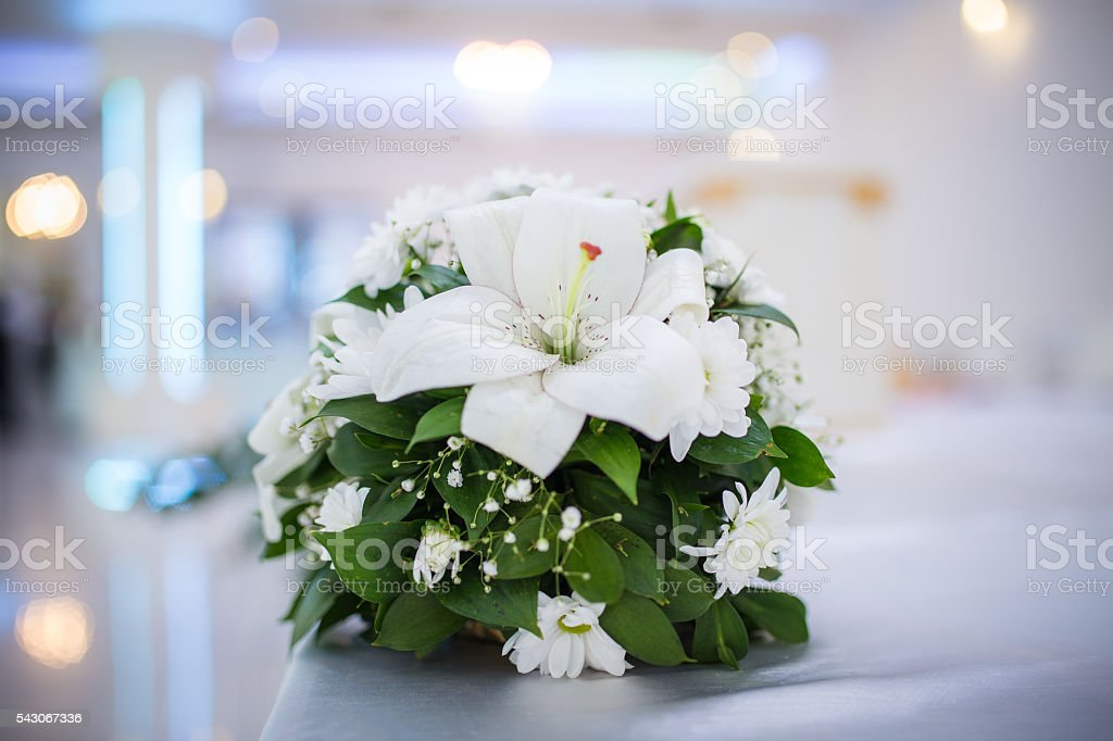 White orchids on restaurant table stock photo