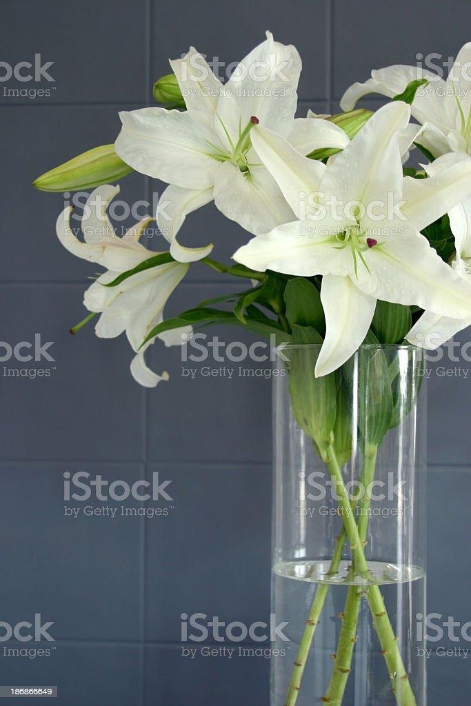 white oriental lilies glass vase on grey tiles royalty-free stock photo