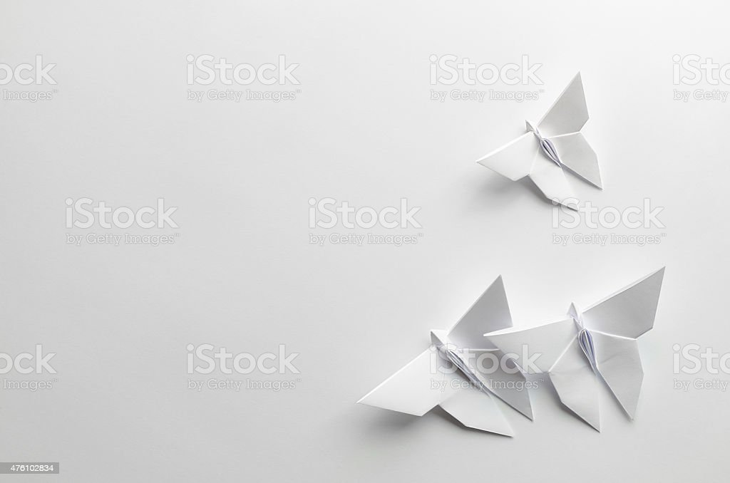 White origami butterflies on white background stock photo