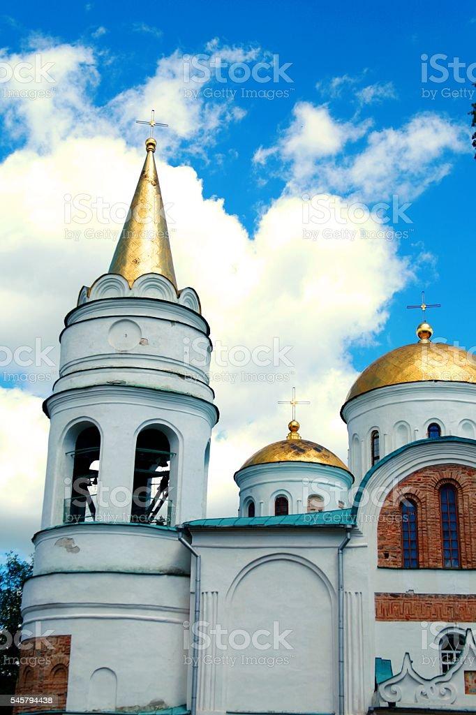 white orthodox church building in chernigov ukraine stock photo