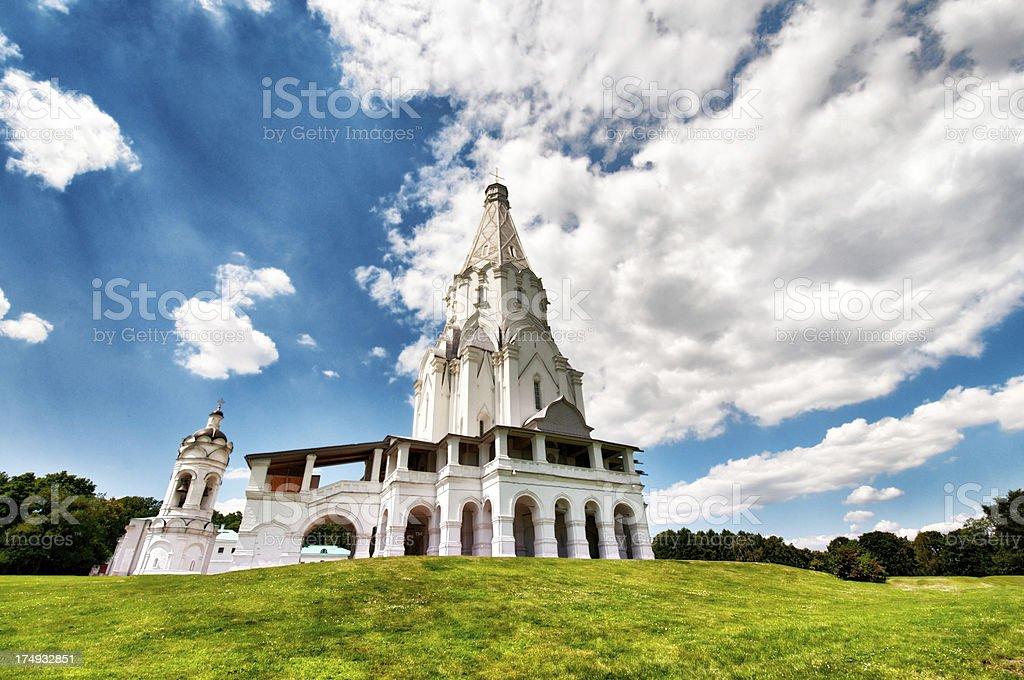 White orthodox church in Kolomenskoe, Moscow, Russia stock photo